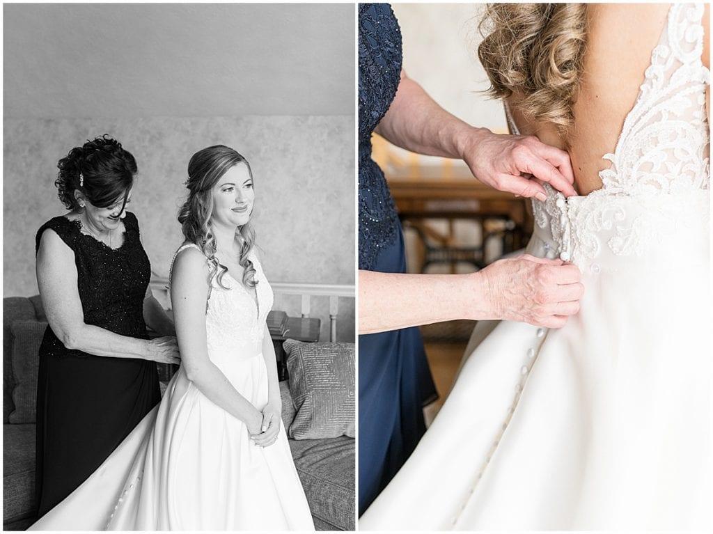 Bride getting ready for Lizton Lodge Wedding in Lizton, Indiana
