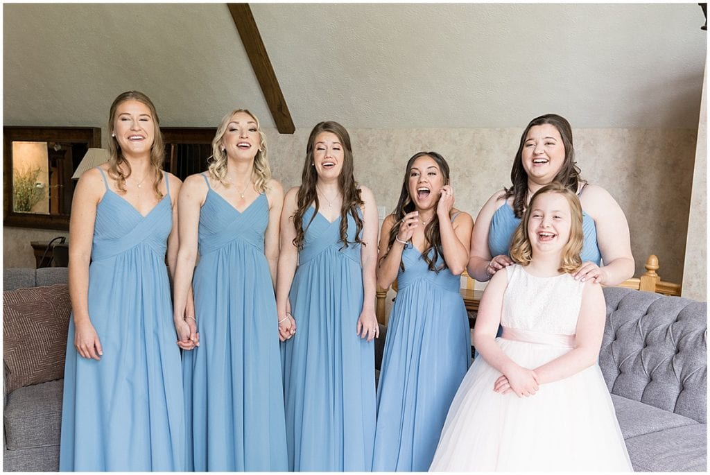 Bridesmaids first look at Lizton Lodge Wedding in Lizton, Indiana
