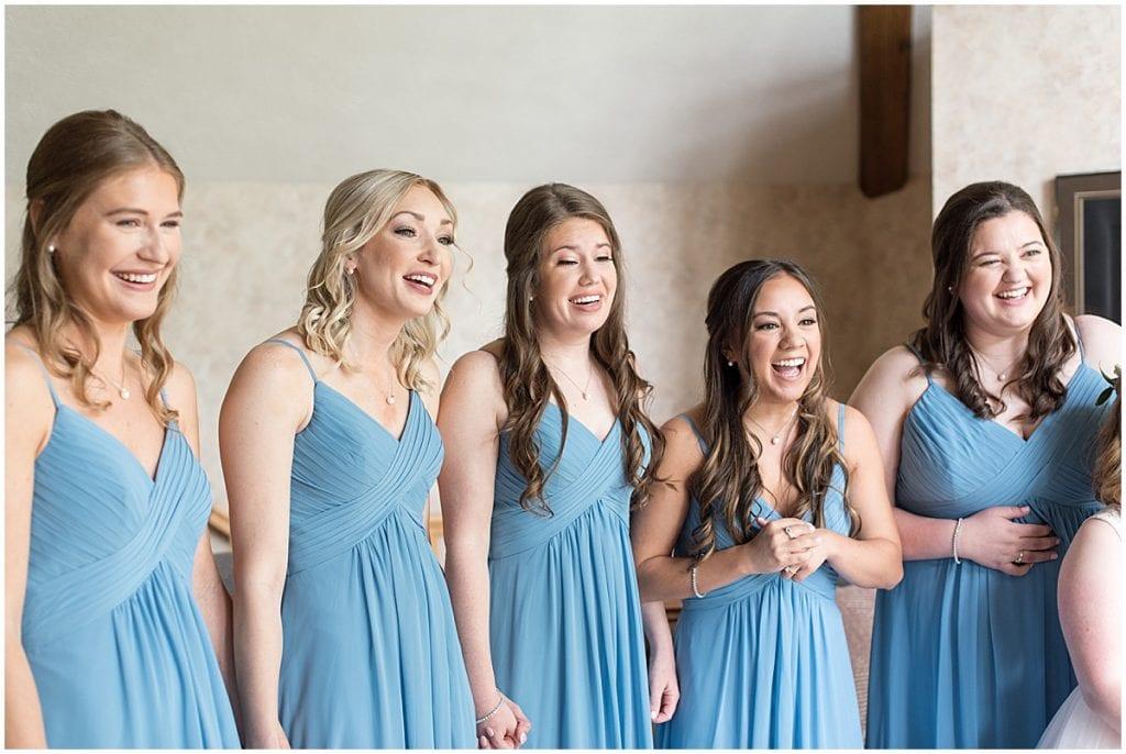 Bridesmaid's first look at Lizton Lodge Wedding in Lizton, Indiana