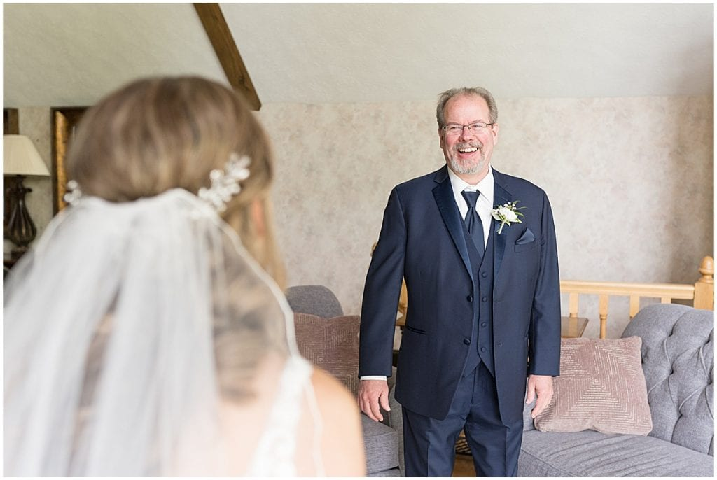 Bride's first look with father at Lizton Lodge Wedding in Lizton, Indiana