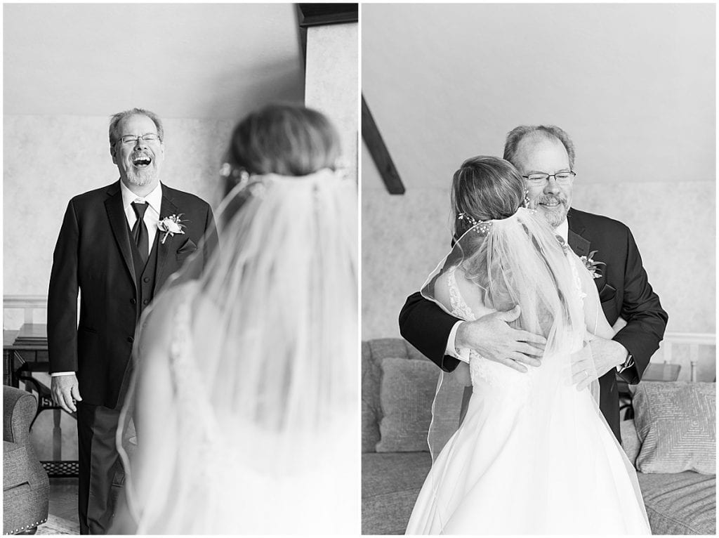 Bride first look with father at Lizton Lodge Wedding in Lizton, Indiana