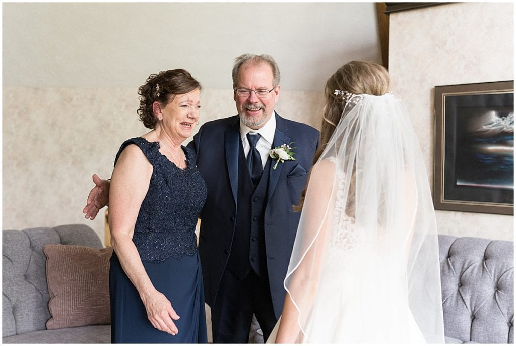 Bride and parents before Lizton Lodge Wedding in Lizton, Indiana