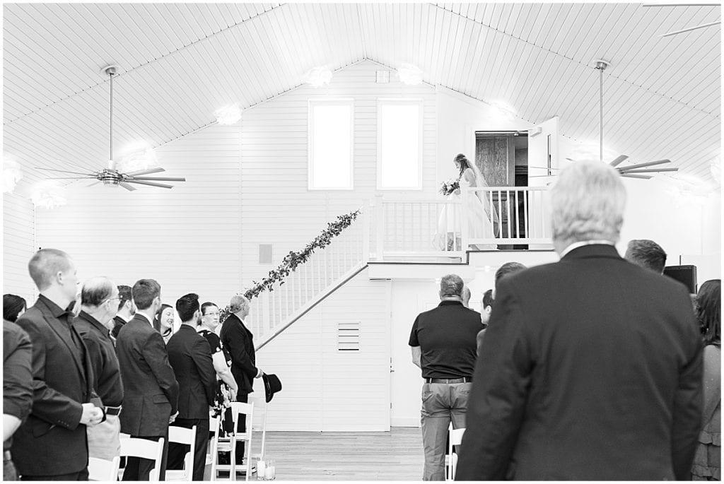 Bride walks down aisle at Lizton Lodge Wedding in Lizton, Indiana
