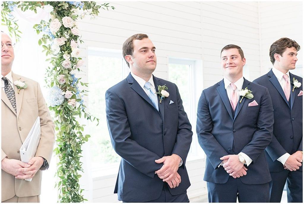 Groom sees bride at Lizton Lodge Wedding in Lizton, Indiana