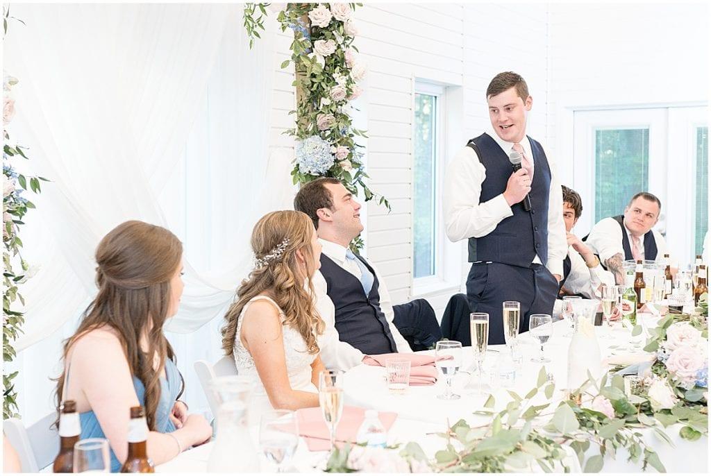 Best man speech at Lizton Lodge Wedding in Lizton, Indiana