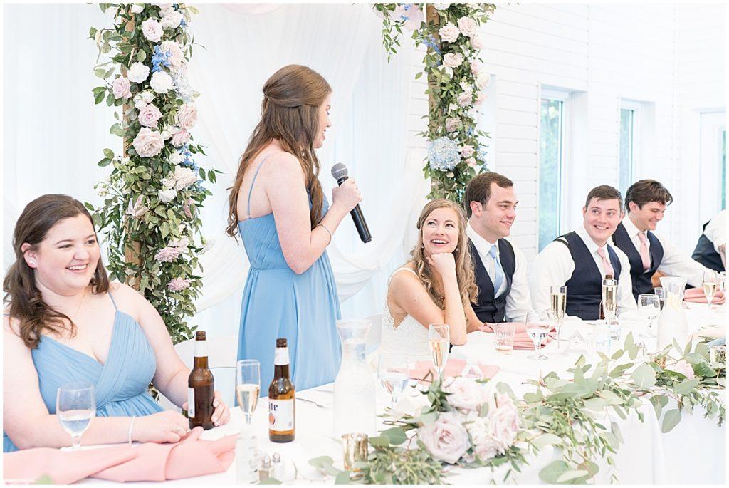 Maid of honor speech at Lizton Lodge Wedding in Lizton, Indiana