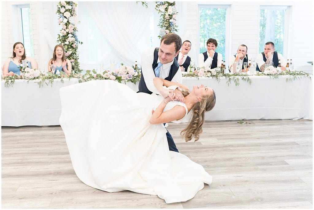 Couple's first dance after Lizton Lodge Wedding in Lizton, Indiana
