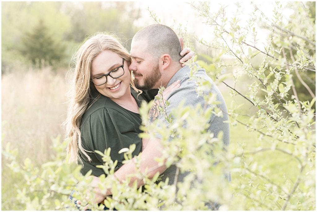 Spring engagement photos at Fairfield Lakes Park in Lafayette, Indiana