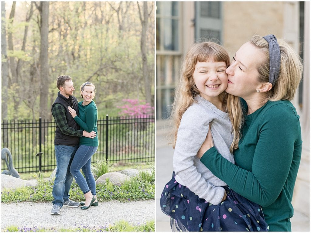 Spring family photos in the The Haan Mansion's sculpture garden in Lafayette, Indiana