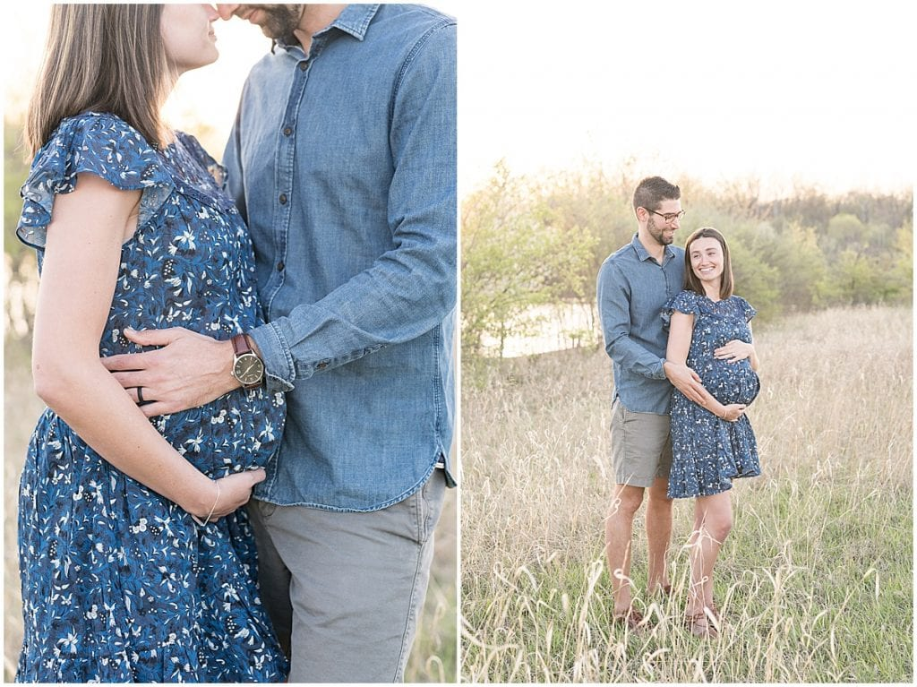 Spring maternity photos at Fairfield Lakes Park in Lafayette, Indiana