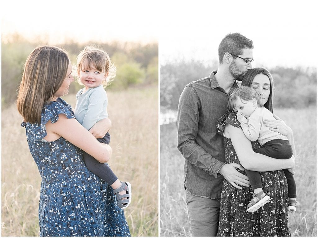 Spring maternity photos at Fairfield Lakes Park in Lafayette, Indiana with toddler