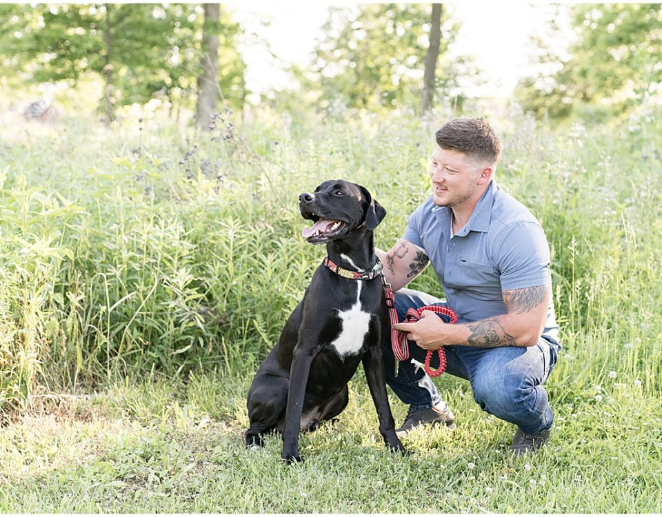 Photo shoot of a man and his dog at The Celery Bog in West Lafayette, Indiana