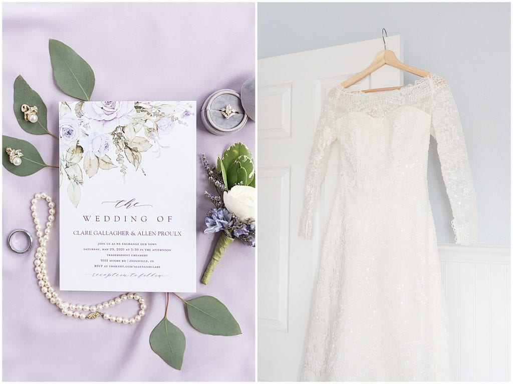Wedding Dress and Details at Traders Point Creamery wedding in Zionsville, Indiana