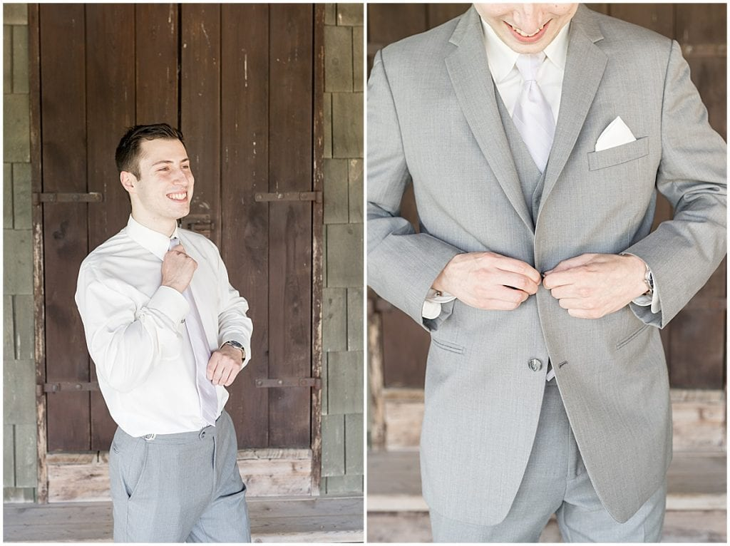 Groom getting ready for Traders Point Creamery wedding in Zionsville, Indiana