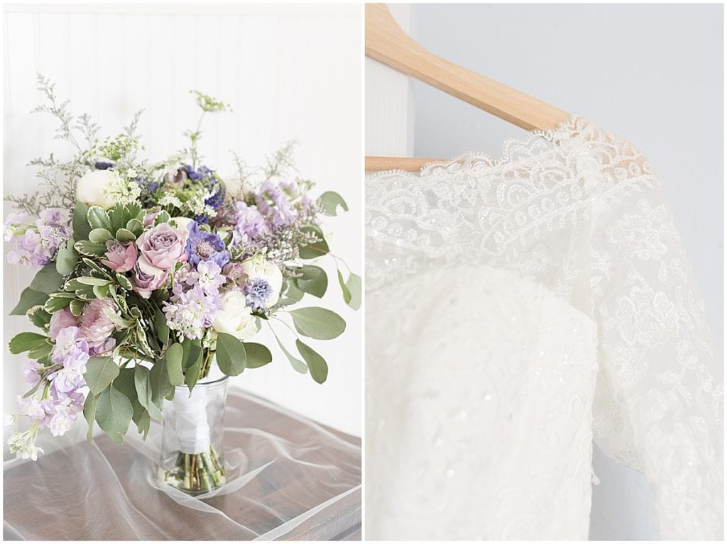 Bouquet and Dress Details at Traders Point Creamery wedding in Zionsville, Indiana