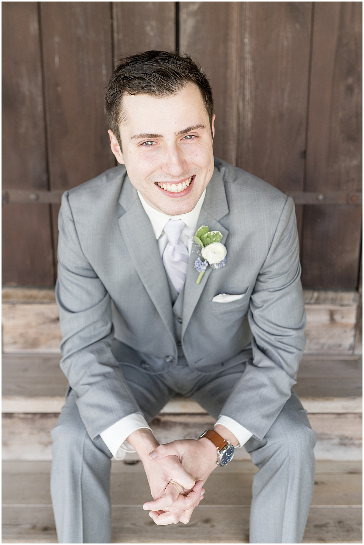 Groom portrait at Traders Point Creamery wedding in Zionsville, Indiana