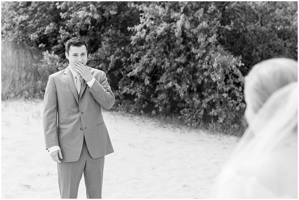 First look reaction before Traders Point Creamery wedding in Zionsville, Indiana