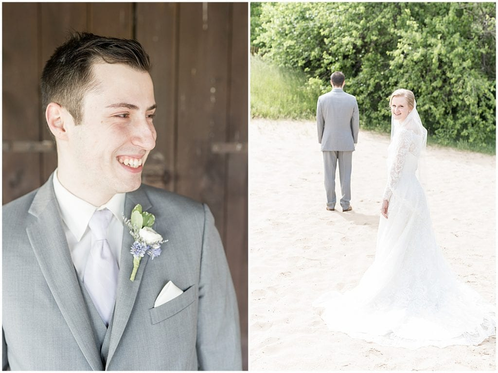 First look photos before Traders Point Creamery wedding in Zionsville, Indiana