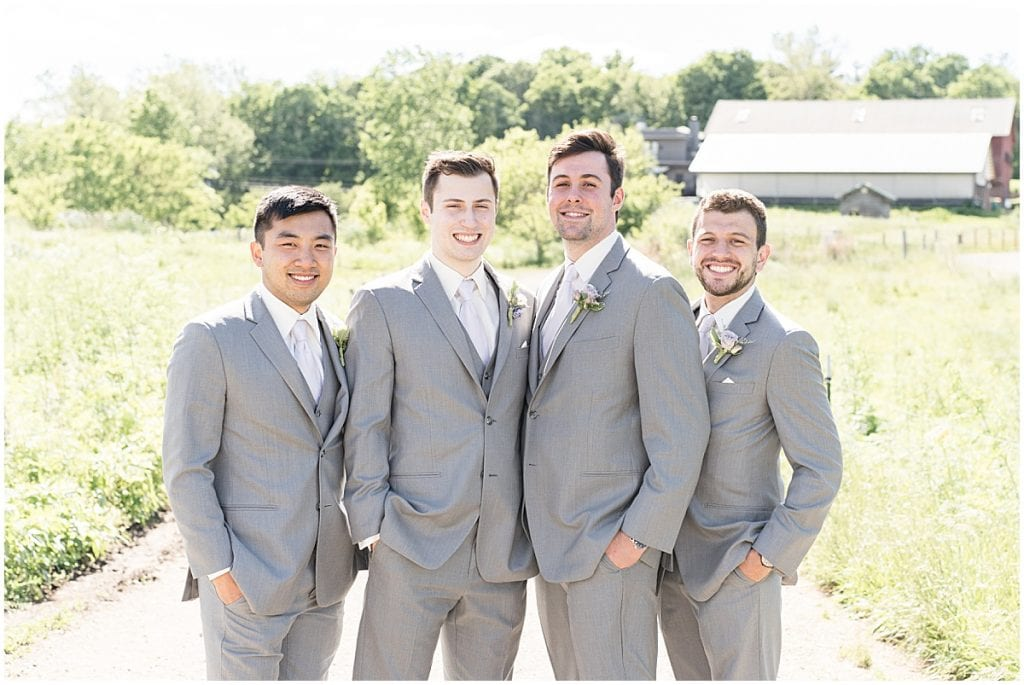 Groomsmen ready for Traders Point Creamery wedding in Zionsville, Indiana