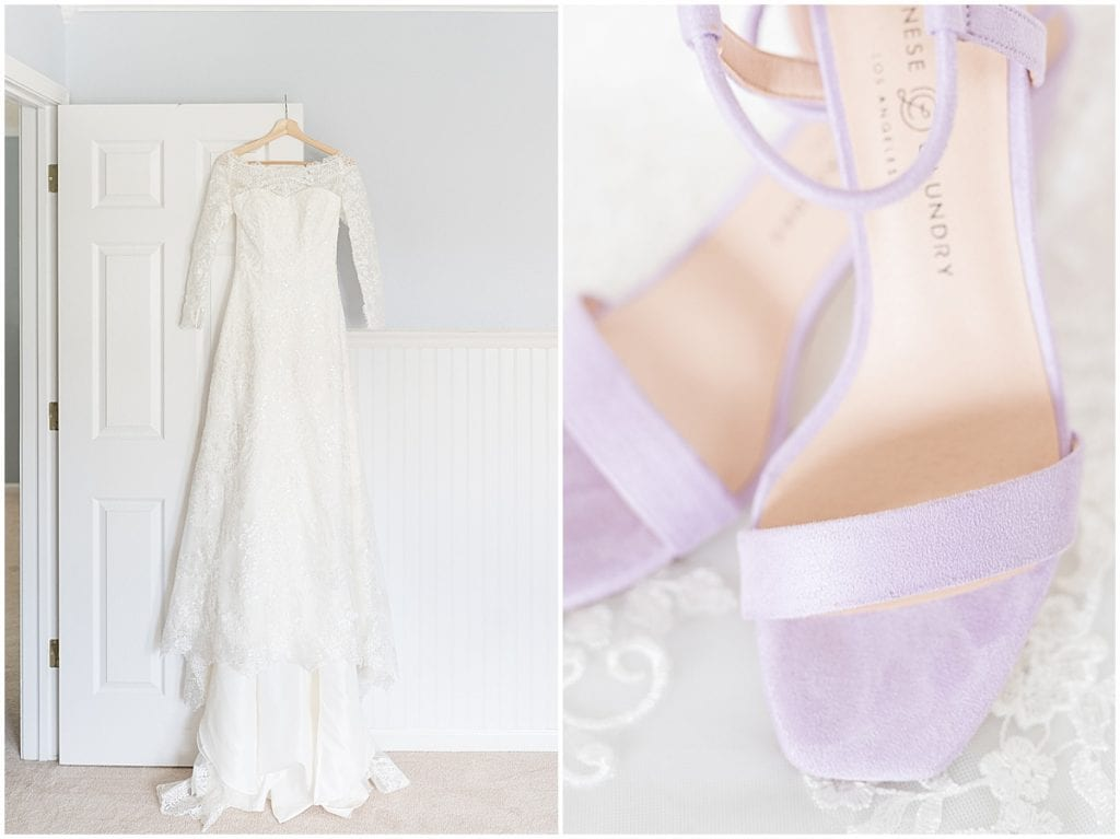 Wedding Dress and Shoes at Traders Point Creamery wedding in Zionsville, Indiana