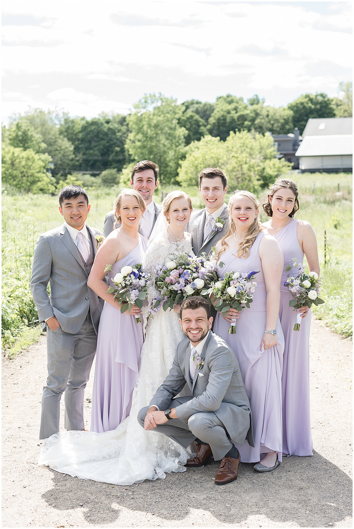 Bridal party portrait at Traders Point Creamery wedding in Zionsville, Indiana