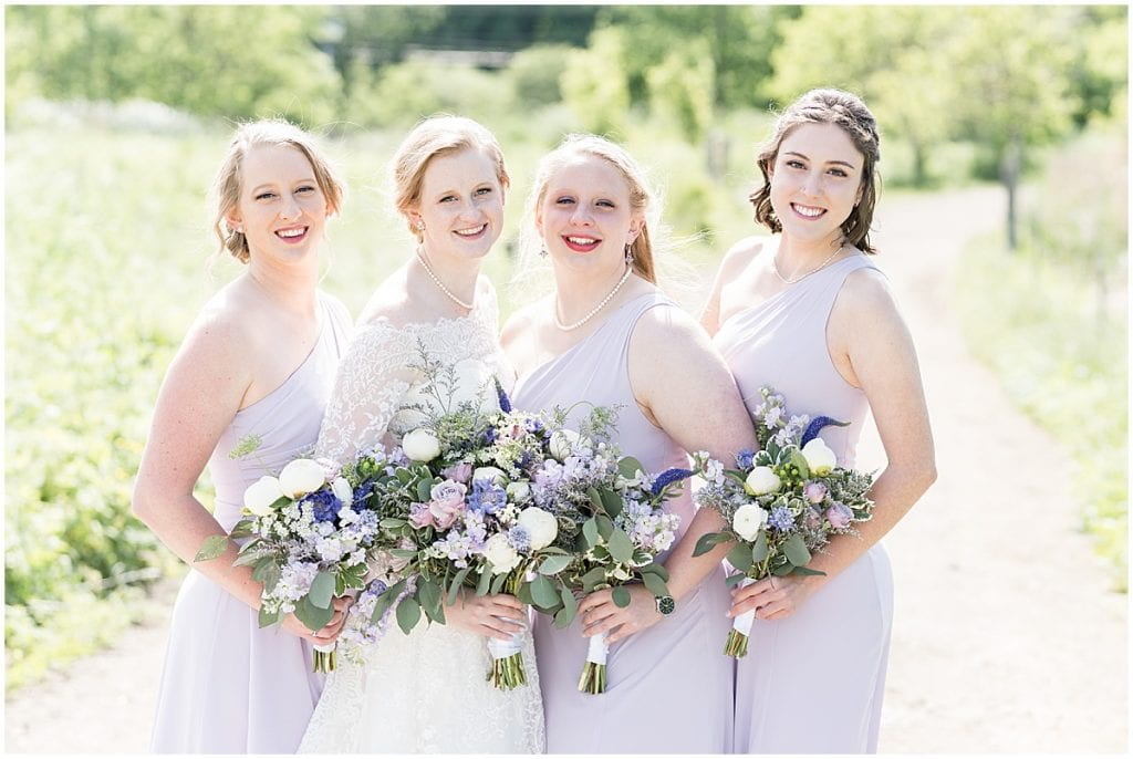 Bridesmaids photo at Traders Point Creamery wedding in Zionsville, Indiana