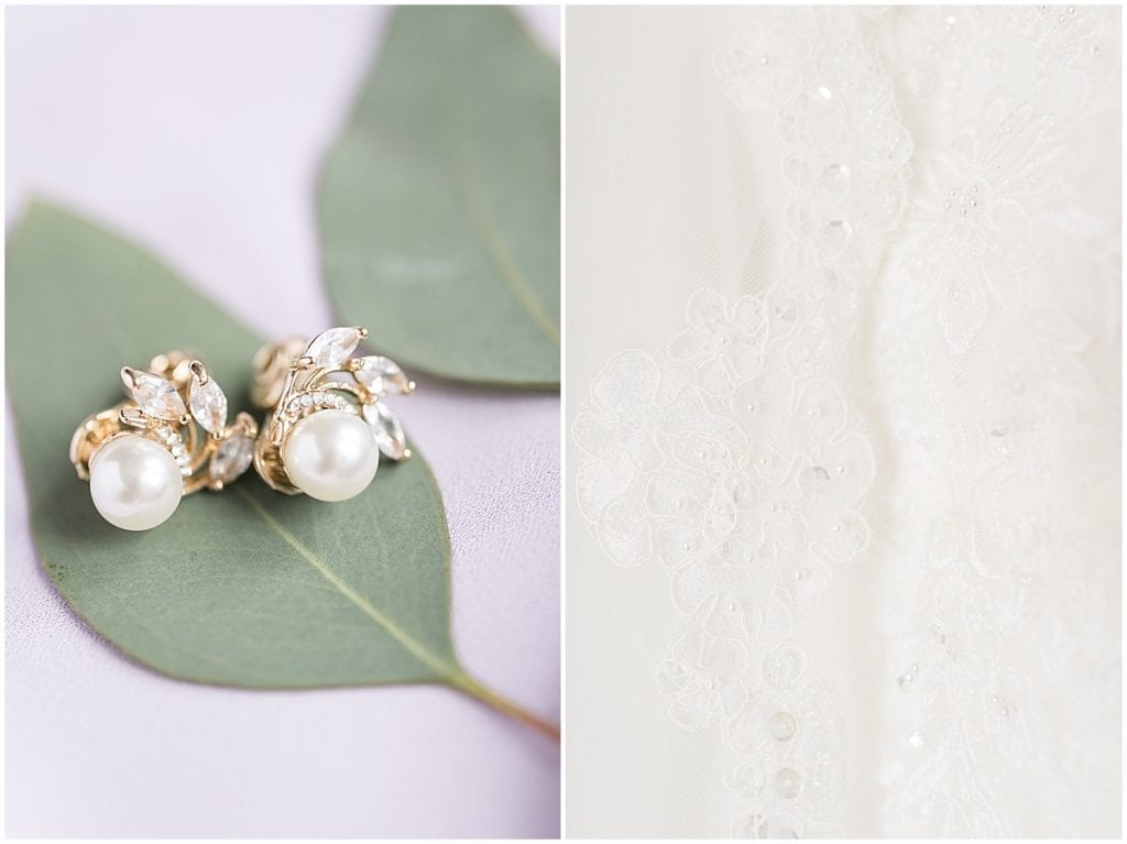 Earrings and dress details at Traders Point Creamery wedding in Zionsville, Indiana