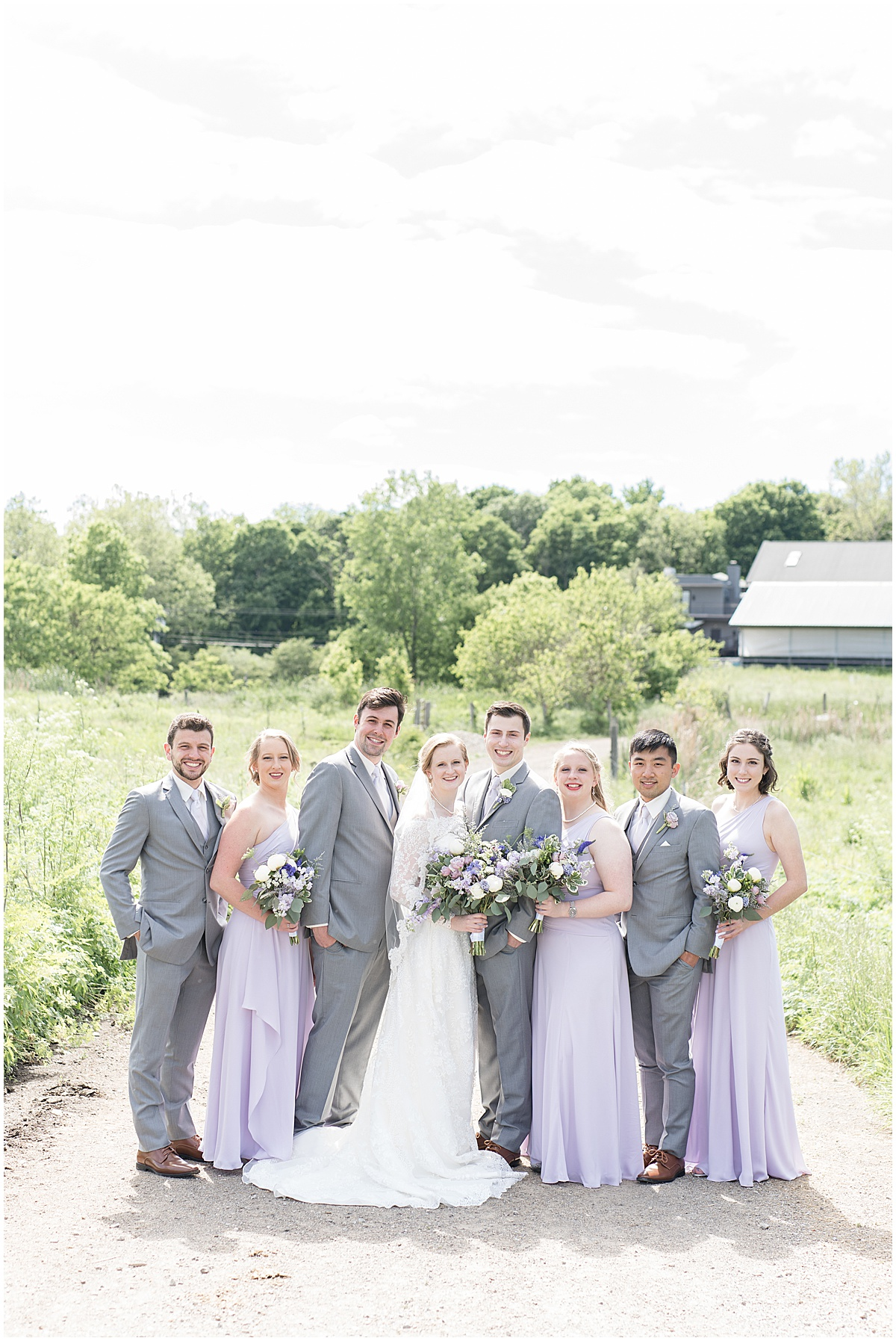 Wedding party portrait at Traders Point Creamery wedding in Zionsville, Indiana