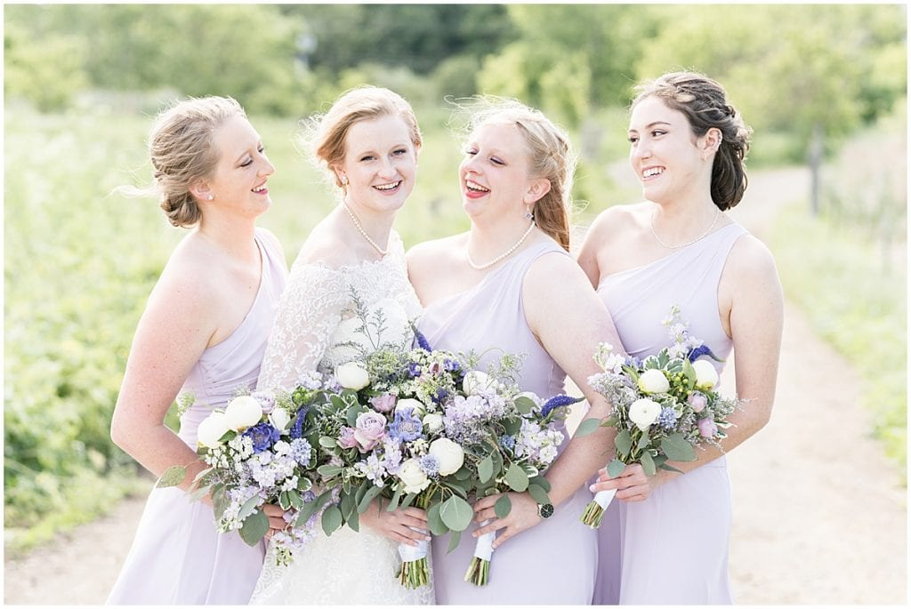 Bridesmaids portrait at Traders Point Creamery wedding in Zionsville, Indiana