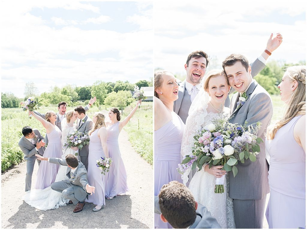Wedding party photos at Traders Point Creamery wedding in Zionsville, Indiana