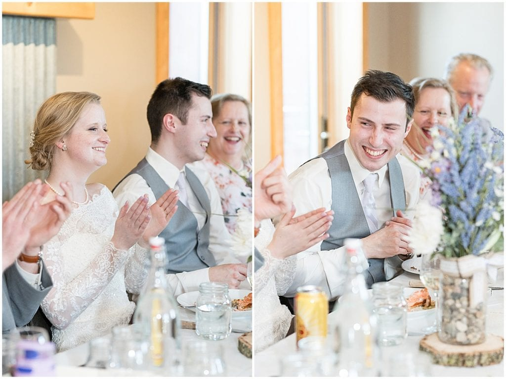 Reception at Traders Point Creamery wedding in Zionsville, Indiana