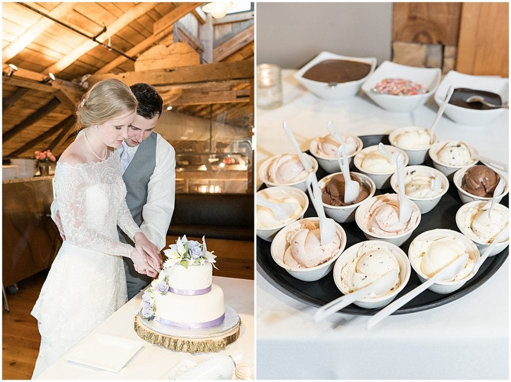 Cutting the cake at Traders Point Creamery wedding in Zionsville, Indiana