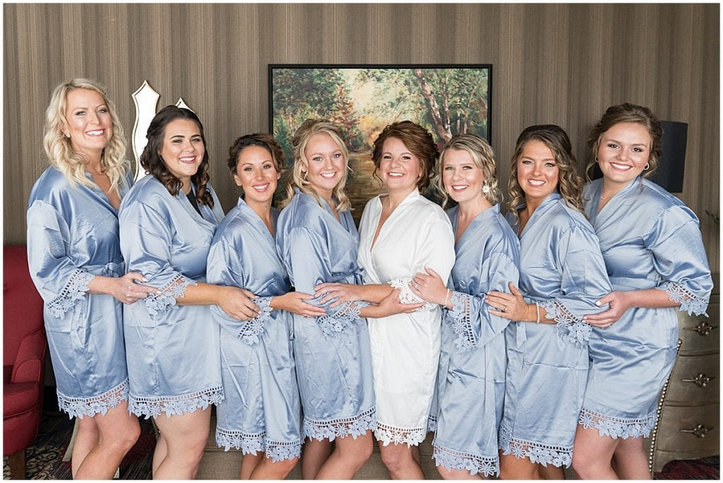 Bridesmaids getting ready photos at a wedding at The Brandywine in Monticello, Indiana
