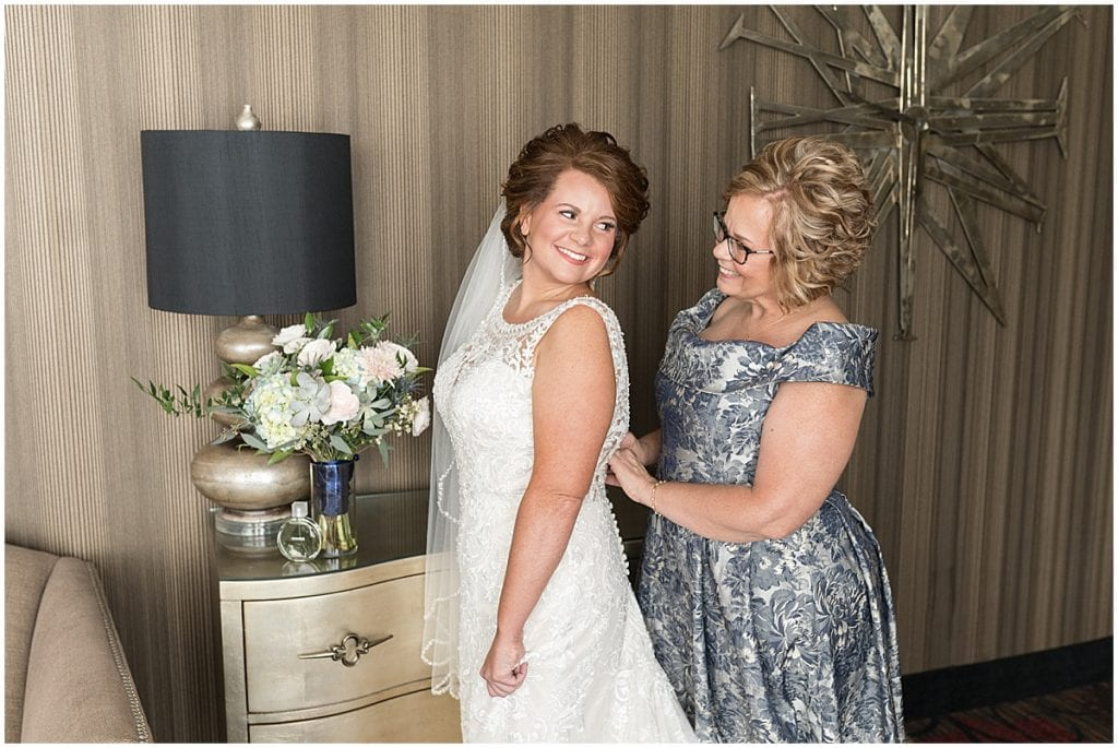 Bride getting ready at a wedding at The Brandywine in Monticello, Indiana