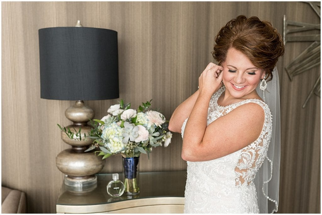 Bride getting ready photo at a wedding at The Brandywine in Monticello, Indiana