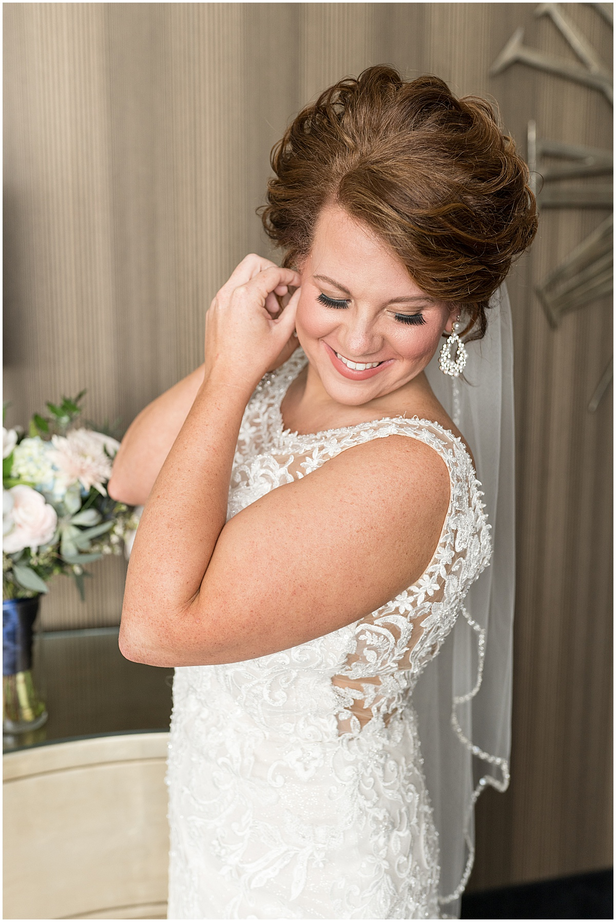 Bride getting ready photos at wedding at The Brandywine in Monticello, Indiana