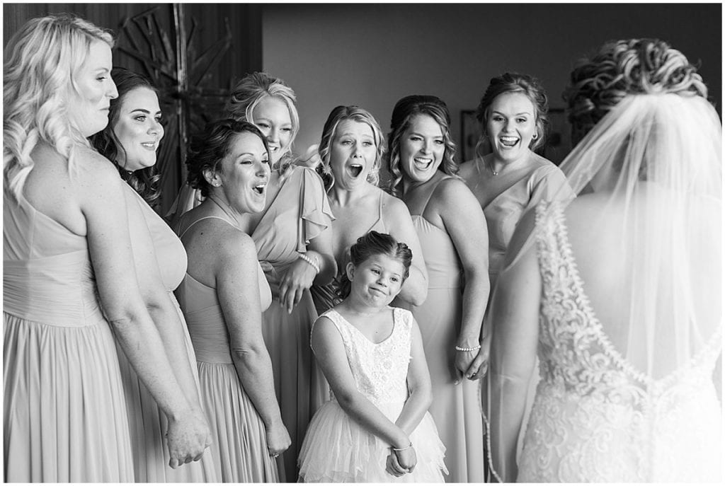 Bridesmaid first look photo at a wedding at The Brandywine in Monticello, Indiana