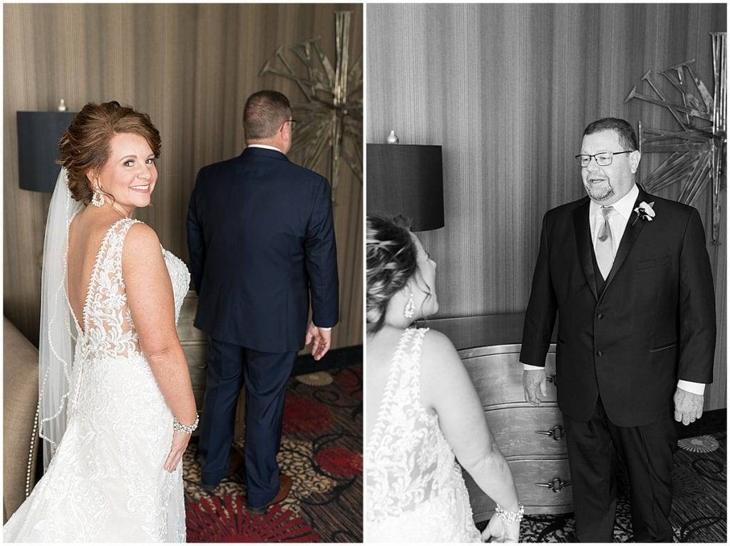 First look with dad at a wedding at The Brandywine in Monticello, Indiana