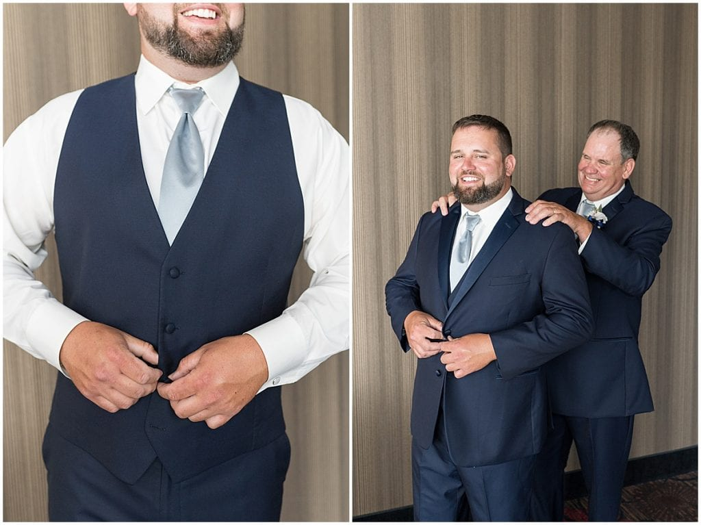 Groom getting ready photos at a wedding at The Brandywine in Monticello, Indiana