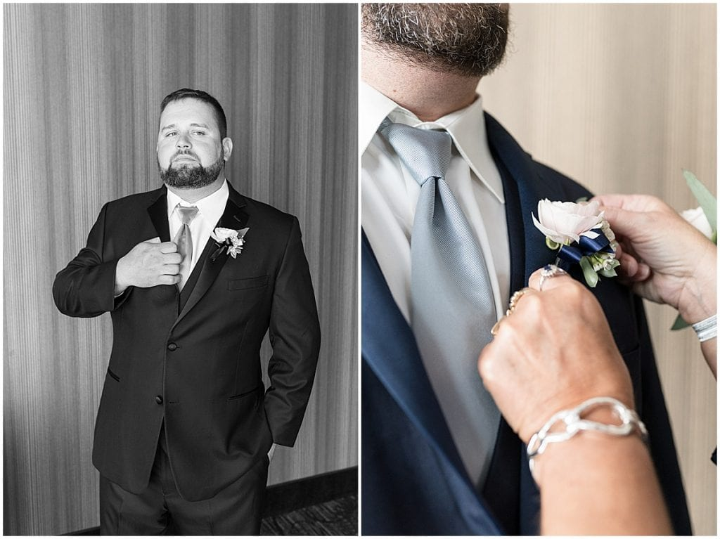 Groom ready for wedding at The Brandywine in Monticello, Indiana