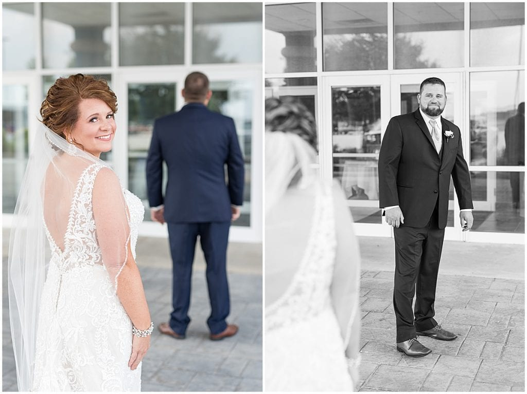 First look photos at a wedding at The Brandywine in Monticello, Indiana