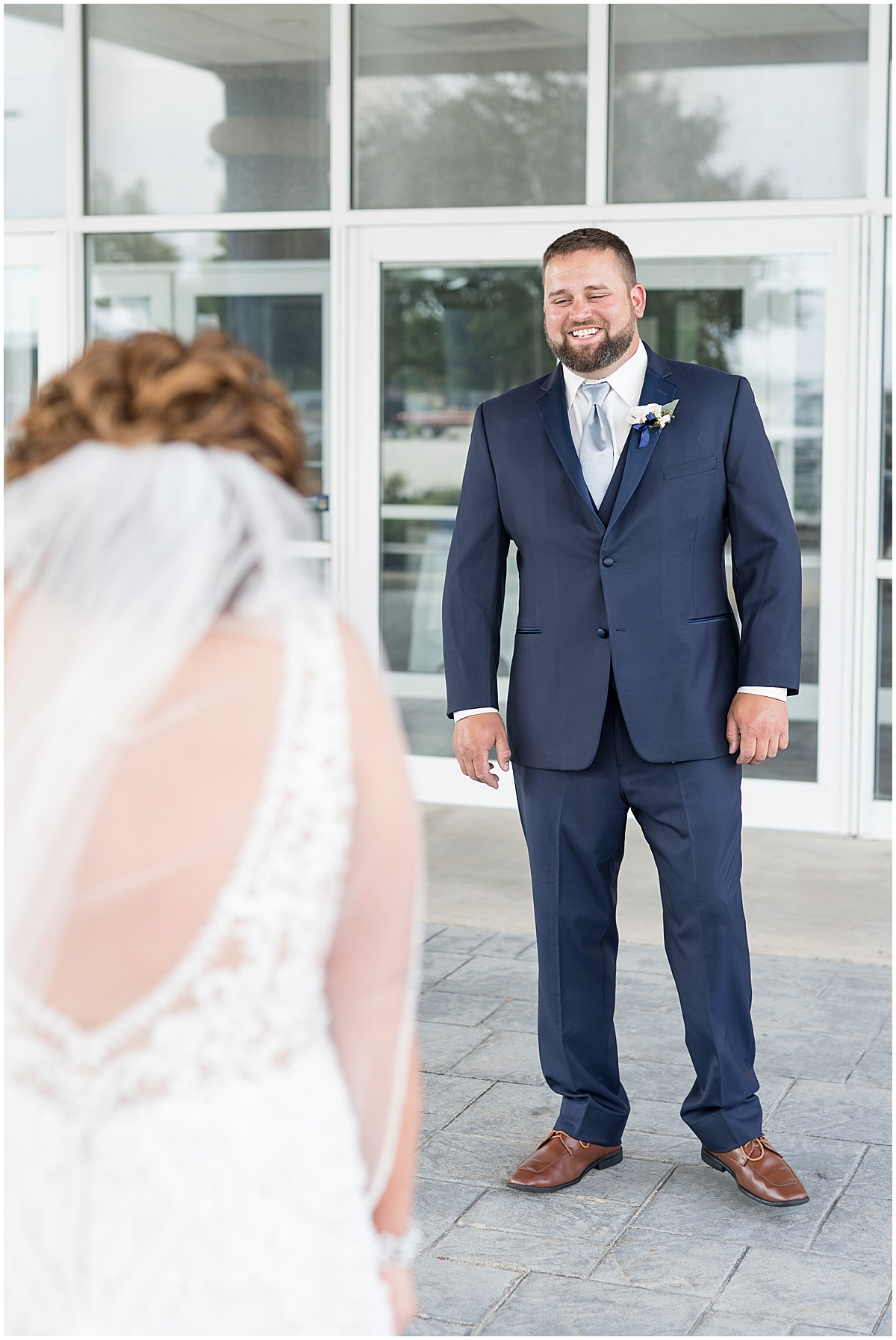 First look reaction at a wedding at The Brandywine in Monticello, Indiana
