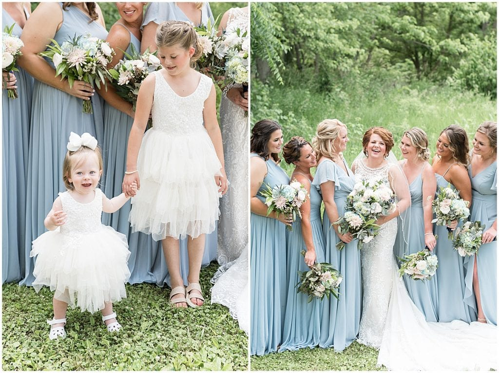 Bridesmaids portrait at a wedding at The Brandywine in Monticello, Indiana