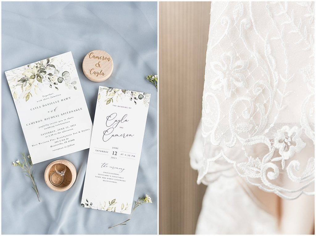 Bridal details at a wedding at The Brandywine in Monticello, Indiana