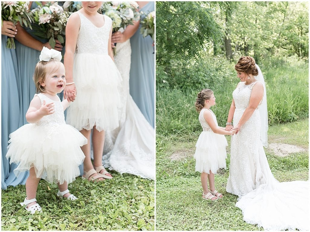 Flower girl photos at a wedding at The Brandywine in Monticello, Indiana