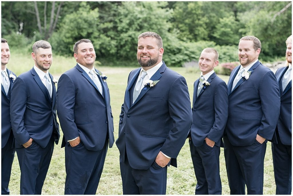 Groomsmen portrait at a wedding at The Brandywine in Monticello, Indiana