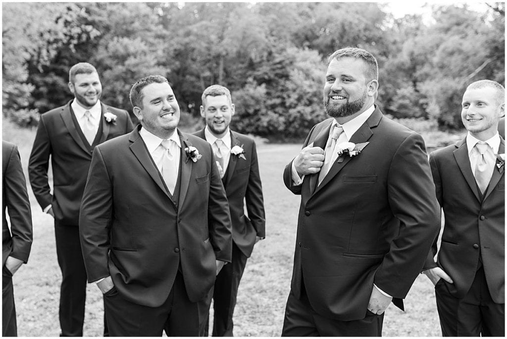 Groomsmen photo at a wedding at The Brandywine in Monticello, Indiana