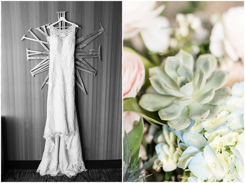 Dress and bouquet photos at a wedding at The Brandywine in Monticello, Indiana