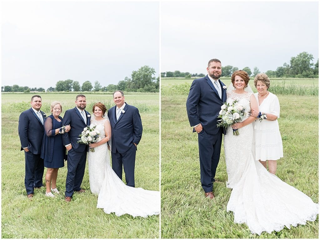 Family portraits at a wedding at The Brandywine in Monticello, Indiana