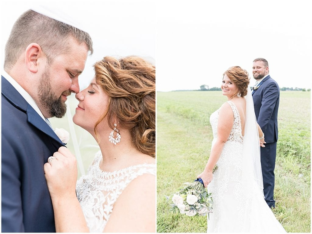 Bride and groom portraits at a wedding at The Brandywine in Monticello, Indiana